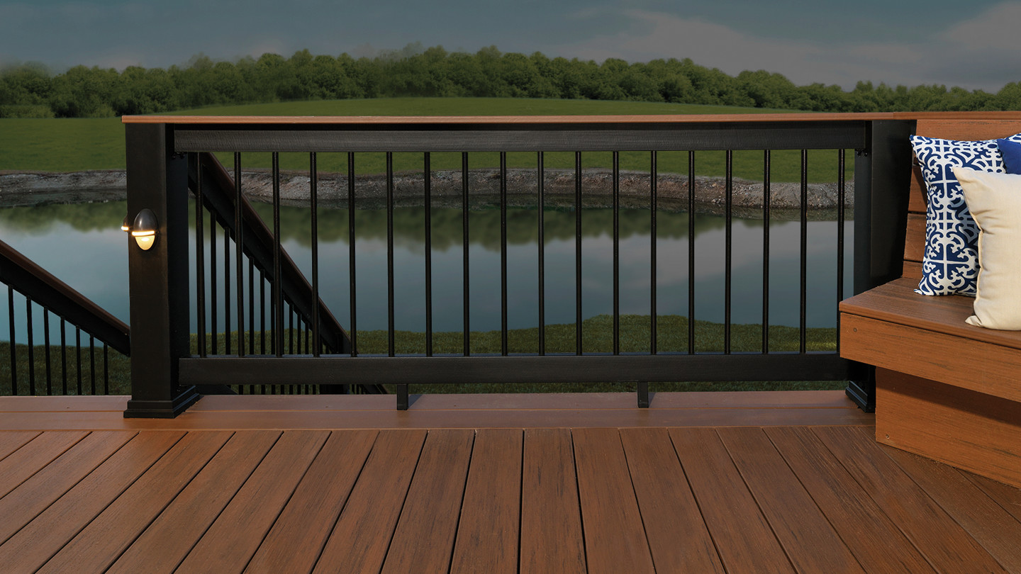 Evolutions rail builder composite deck railing for Redwood vs composite decking
