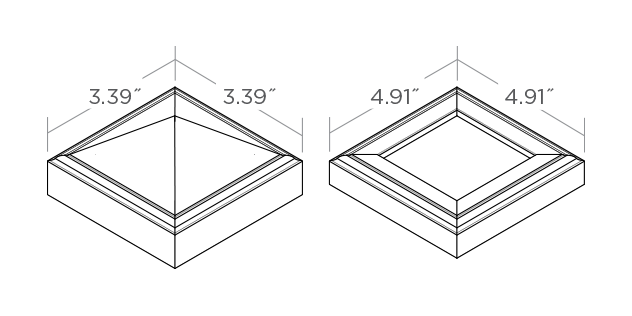Couvre-poteau et base de poteau 7,62 cm x 7,62 cm (3